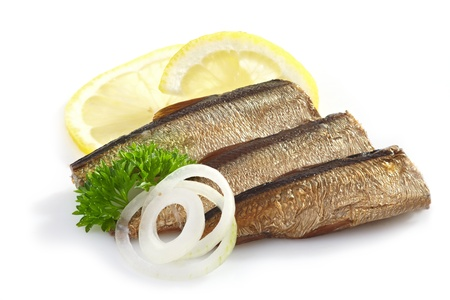 sprats on white background photo