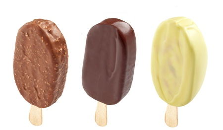 popsicle: three different Ice creams covered with chocolate Stock Photo