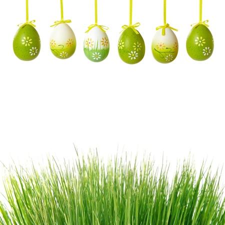 groen gras en paaseieren