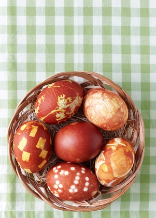 easter eggs colored with onion skin photo