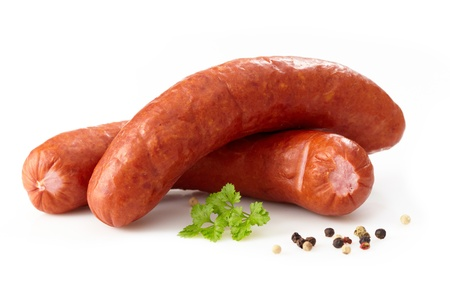 delicious smoked sausages Stock Photo