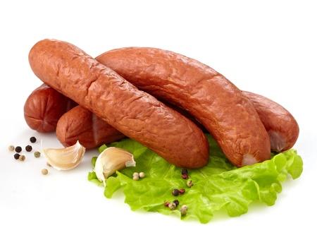 smoked sausages Stock Photo