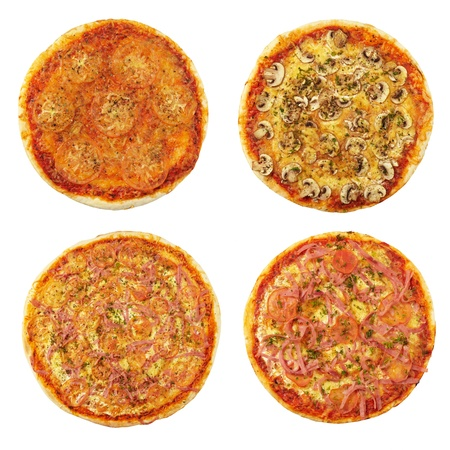four different pizzas photo