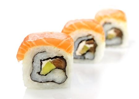 maki: sushi with salmon and avocado