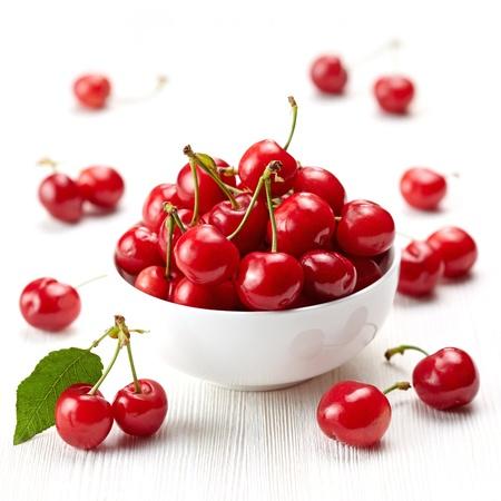 fresh red cherries photo