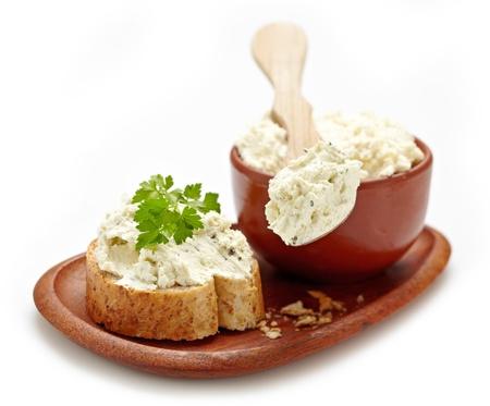 queso blanco: cuajada de queso fresco Foto de archivo