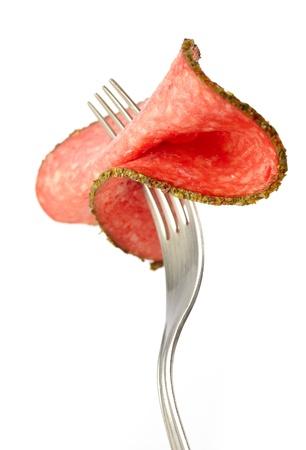 salami sausage: slice of salami sausage
