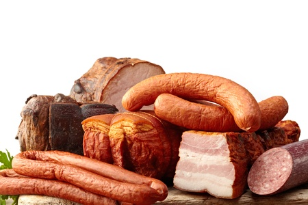 smoked meat and sausages photo