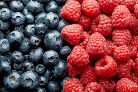 blueberries and raspberries photo
