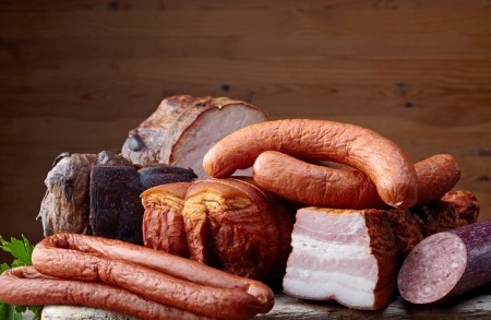 butcher's shop: smoked meat and sausages