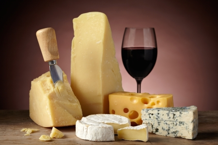 types of glasses: still life with cheese Stock Photo