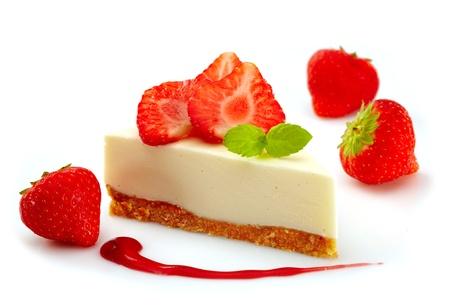 porcion de torta: cheese cake de fresa Foto de archivo
