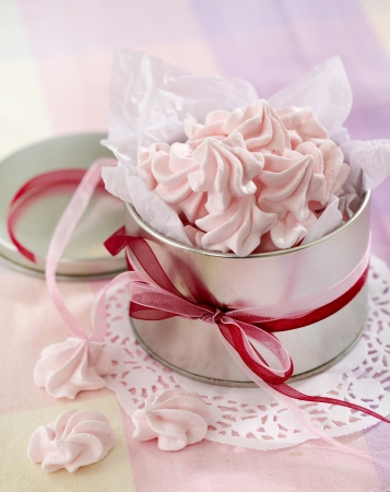 pink meringue cookies photo