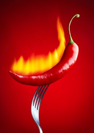 burning red chili pepper photo