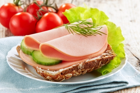 ham sandwich: sandwich with sausage slices Stock Photo