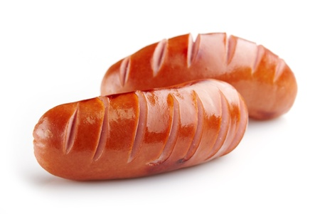 grilled sausages on white background Stock Photo