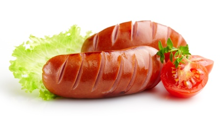 grilled sausages: grilled sausages on white background