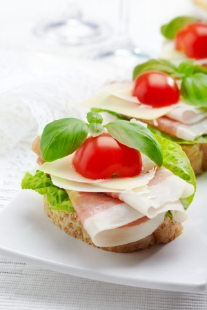 Sandwich with prosciutto, parmesan cheese and tomato Stock Photo - 16983808