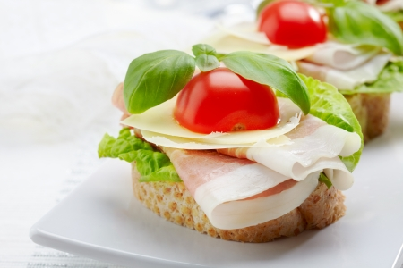 Sandwich with prosciutto, parmesan cheese and tomato Stock Photo - 16983805