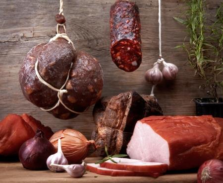 salami sausage: various meat and sausages