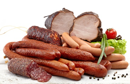 frankfurters: Smoked meat and sausages salami
