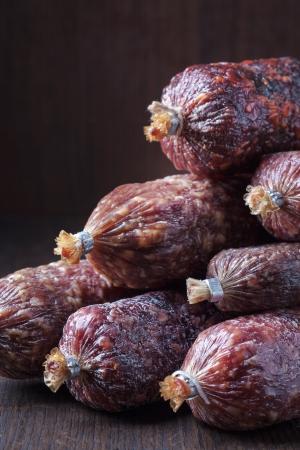 air dried salami: various salami sausages Stock Photo