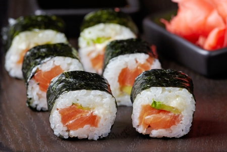 sushi with salmon and avocado photo