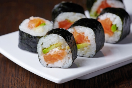 sushi plate: sushi with salmon and avocado