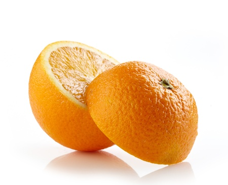half open: fresh half orange on white background Stock Photo