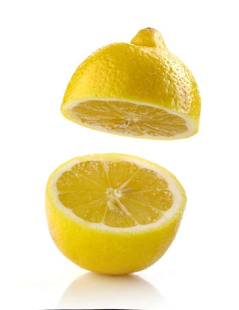 half open: fresh half lemon on white background
