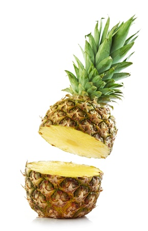half pineapple on white background photo
