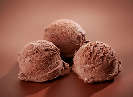 scoops: Chocolate Ice cream on brown background