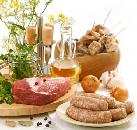 various raw meat and sausages