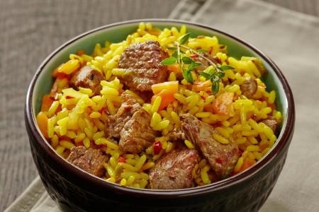 arabian food: Uzbek national dish plov in a bowl