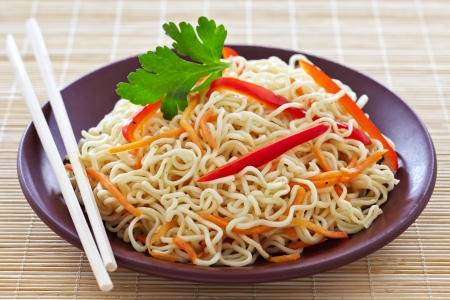 chinese noodle: chinese noodles with vegetables Stock Photo