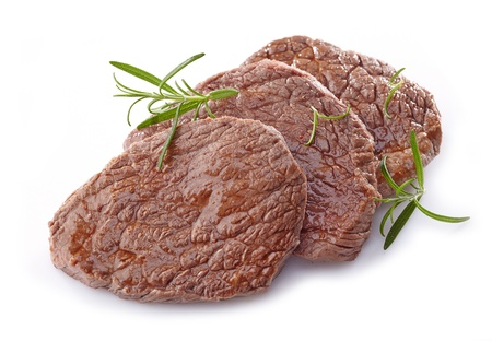 MEAT LOAF: beef steak on white background
