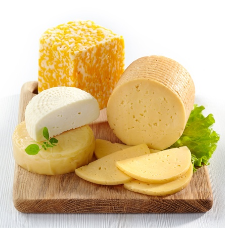 cheese board: various types of cheese