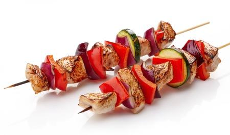 ポーク バーベキュー白地に野菜とポークのグリル ヒレ肉 写真素材