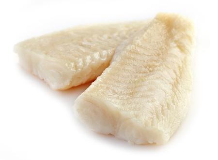 pangasius: fresh prepared pangasius fish fillet on white background Stock Photo