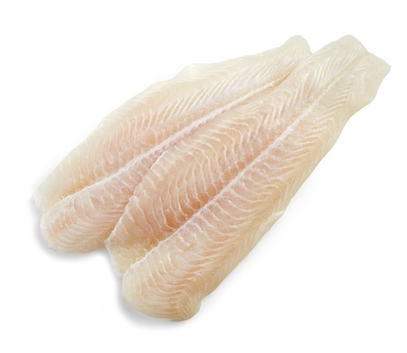 fresh raw pangasius fish fillet on white background
