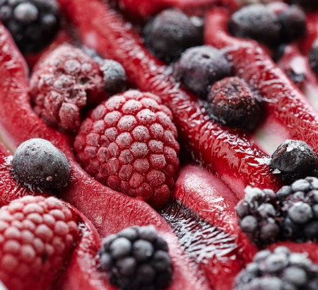 closeup of Ice cream with fresh frozen berries photo