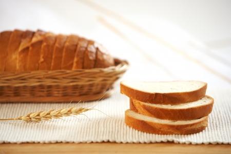 freshly: white bread slices Stock Photo