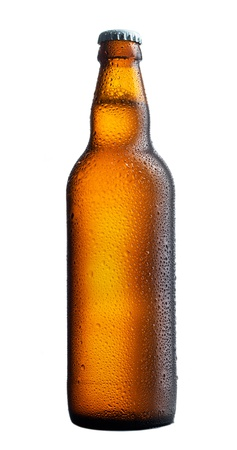 dewed: perfect wet beer bottle on white background