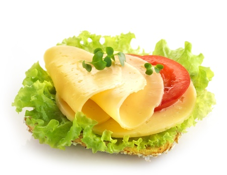 sliced cheese: bread with cheese and vegetables on a white background