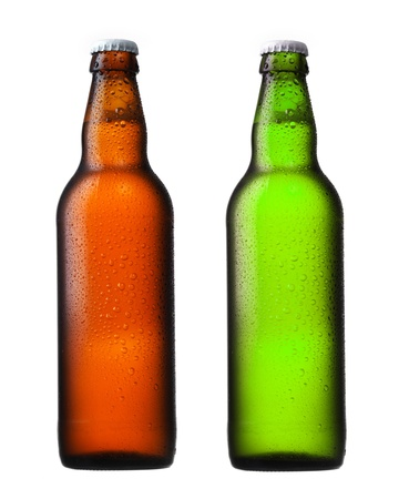brown and green beer bottles isolated on white
