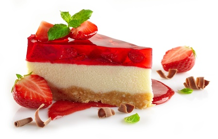 신선한 딸기와 달콤한 딸기 소스와 치즈 케이크 스톡 콘텐츠
