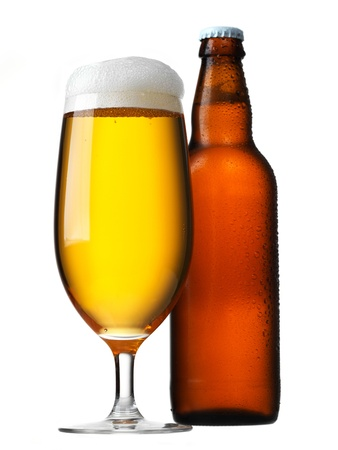 Beer glass and bottle isolated on white photo