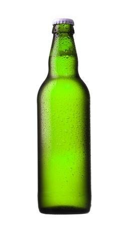 dewed: green beer bottle on white background
