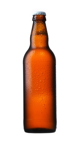 dewed: brown glass beer bottle on white