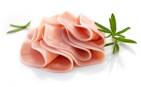 pork ham slices on white background photo